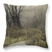 Foggy Late Fall Morning Throw Pillow