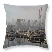 Foggy Marina Morning 2 Throw Pillow