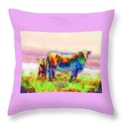 Foggy Mist Cows #0090 Arty Throw Pillow