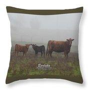 Foggy Mist Cows #0092 Throw Pillow