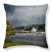 Foggy Morning At The Barge Harbor Throw Pillow