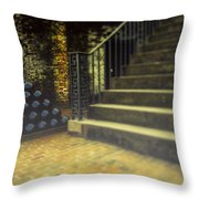 Foggy Morning At The Fort Throw Pillow