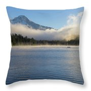 Foggy Morning At Trillium Lake Throw Pillow