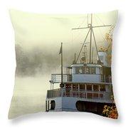 Foggy Morning Cruise Throw Pillow