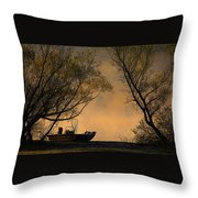 Foggy Morning Fishing Boat Throw Pillow