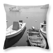 Foggy Morning In Cape Cod Black And White Throw Pillow