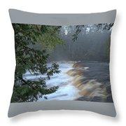 Foggy Morning On Lower Tahquamenon Falls Throw Pillow