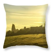 Foggy Morning Over Kennet Village Throw Pillow