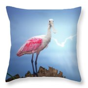 Foggy Morning Spoonbill Throw Pillow