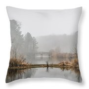 Foggy Morning View Of The Bridge Throw Pillow