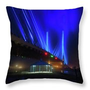 Foggy Night At The Indian River Bridge Throw Pillow