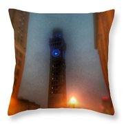 Foggy Night - The Bromo Seltzer Tower Throw Pillow