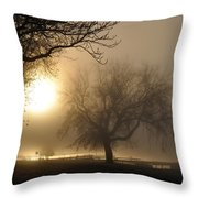 Foggy November Sunrise On The Bay Throw Pillow