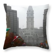 Foggy Philadelphia Throw Pillow