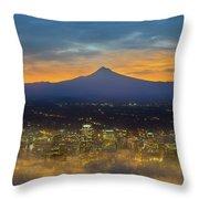 Foggy Portland City Downtown At Dawn Throw Pillow