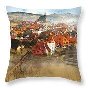 Foggy Small Town Throw Pillow