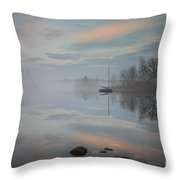 Foggy Sunrise At Great Pond 2 Throw Pillow