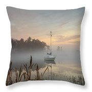 Foggy Sunrise At Great Pond 3 Throw Pillow