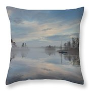 Foggy Sunrise At Great Pond 4 Throw Pillow
