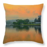 Foggy Sunrise At The Tidal Basin Throw Pillow
