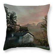 Foggy Sunrise In The Mountains Throw Pillow