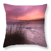 Foggy Sunset At Singing Sands Throw Pillow