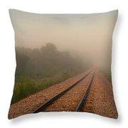 Foggy Tracks Throw Pillow