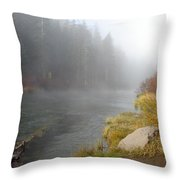 Foggy Truckee River Throw Pillow