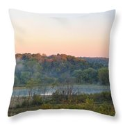 Foggy Valley Panorama Throw Pillow