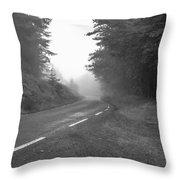 foggy way  BW Throw Pillow