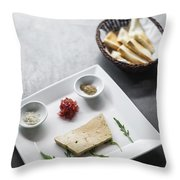Foie Gras French Traditional Duck Pate With Bread  Throw Pillow