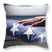Folded American Flag Throw Pillow
