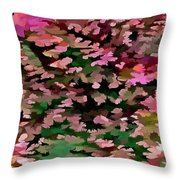 Foliage Abstract In Pink, Peach And Green Throw Pillow
