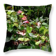 Foliage And Flowers Throw Pillow