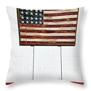 Folk Art American Flag On Wooden Wall Throw Pillow by Garry Gay