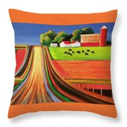 Folk Art Farm Throw Pillow
