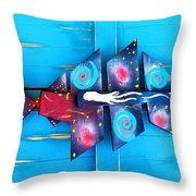 Folk Art Galactic Space Fish Throw Pillow