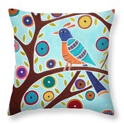 Folk Bird In Tree Throw Pillow