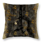 Folk Guitar Throw Pillow