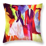 Folks At The Blue Sea By August Macke Throw Pillow
