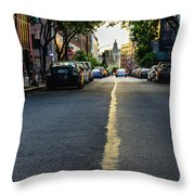 Follow The Yellow Line Throw Pillow