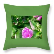 Following A Bumble Bee In Flight Throw Pillow