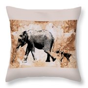 Following Mum - Mother And Baby Elephant Animal Decorative Poster  4 - By Diana Van Throw Pillow