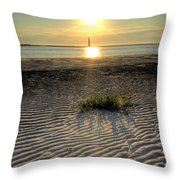Folly Beach First Light Over The Morris Island Lighthouse Throw Pillow
