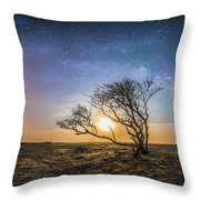 Folly Beach Milky Way Panorama Throw Pillow