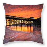 Folly Beach Pier And Waterfront Development Charleston South Carolina Throw Pillow