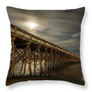 Folly Beach Pier At Full Moon Throw Pillow