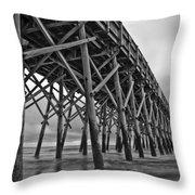 Folly Beach Pier Black And White Throw Pillow by Dustin K Ryan