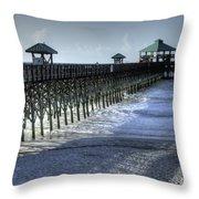 Folly Beach Pier Throw Pillow