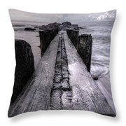 Folly Beach Pilings Charleston South Carolina Throw Pillow